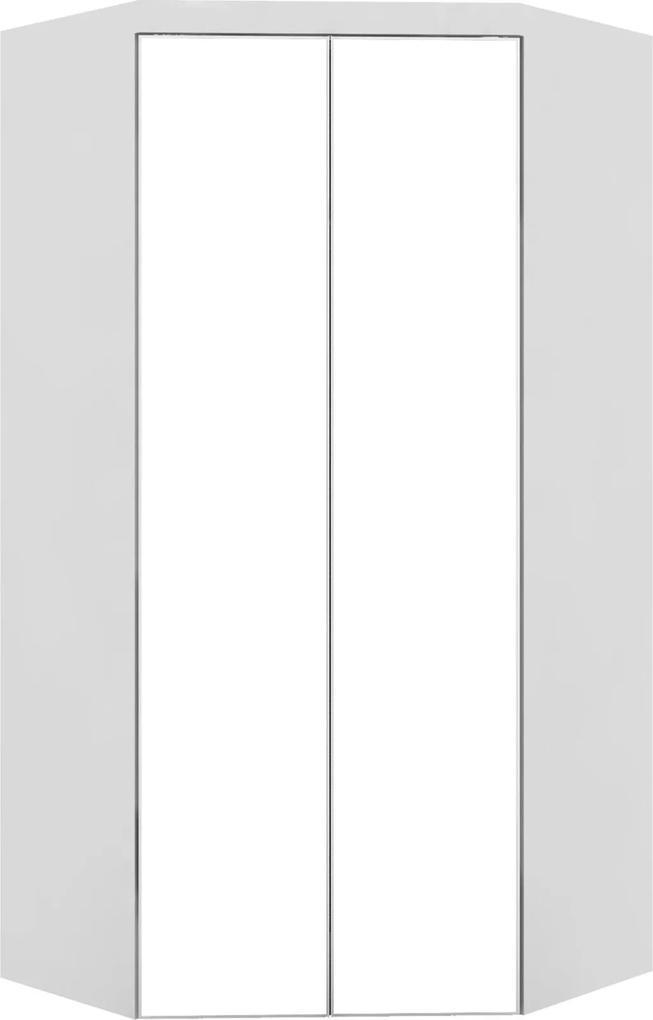 Guarda-Roupa Canto Closet Virtual 2 Portas Com Espelho E Gavetas Branco Robel