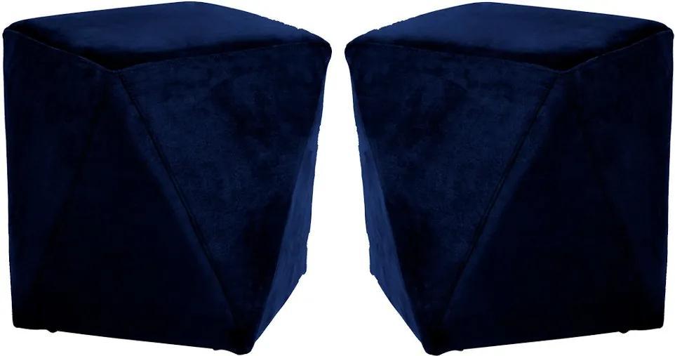 Kit 02 Puffs Decorativo Sala de Estar Blois Veludo Azul Marinho - Gran Belo