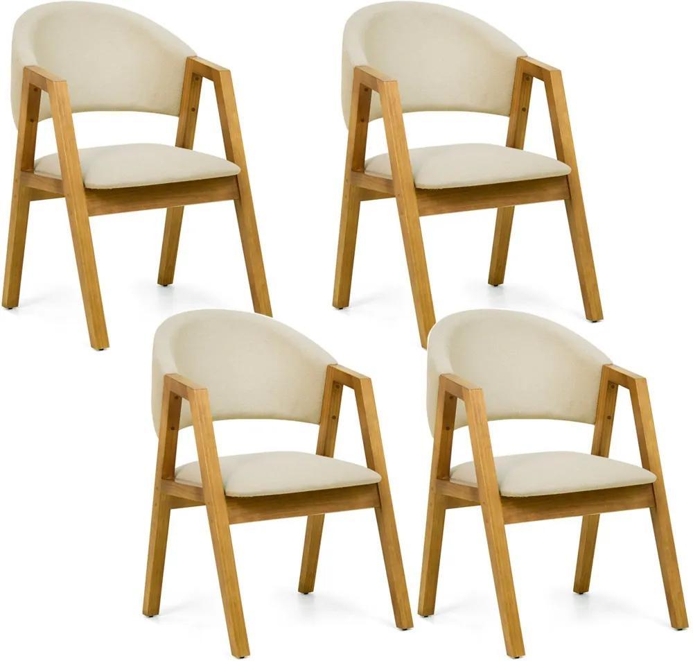 Kit 04 Cadeiras Para Sala de Jantar Cozinha Nik Oregon Linho Rústico Bege - Gran Belo