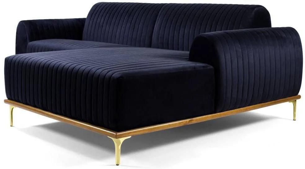 Sofá 3 Lugares com Chaise Base de Madeira Euro 230 cm Veludo Azul - Gran Belo