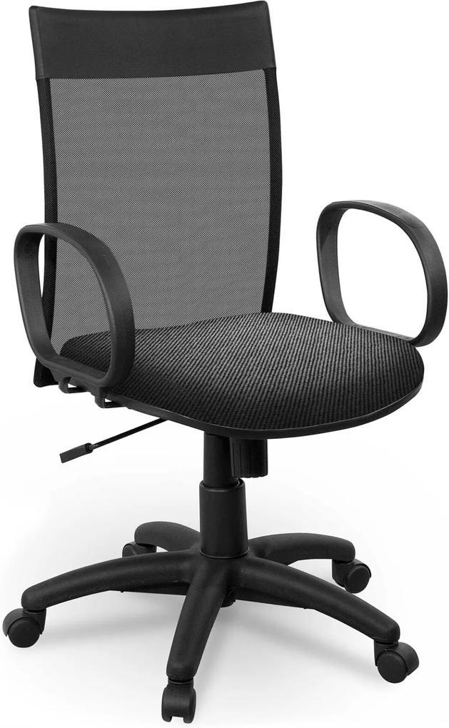 Cadeira Diretor Tela Giobel Braço Corsa Cinza
