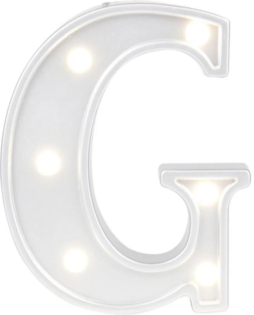 Mini Luminária Adoraria Letra Led G Luminosa Branco