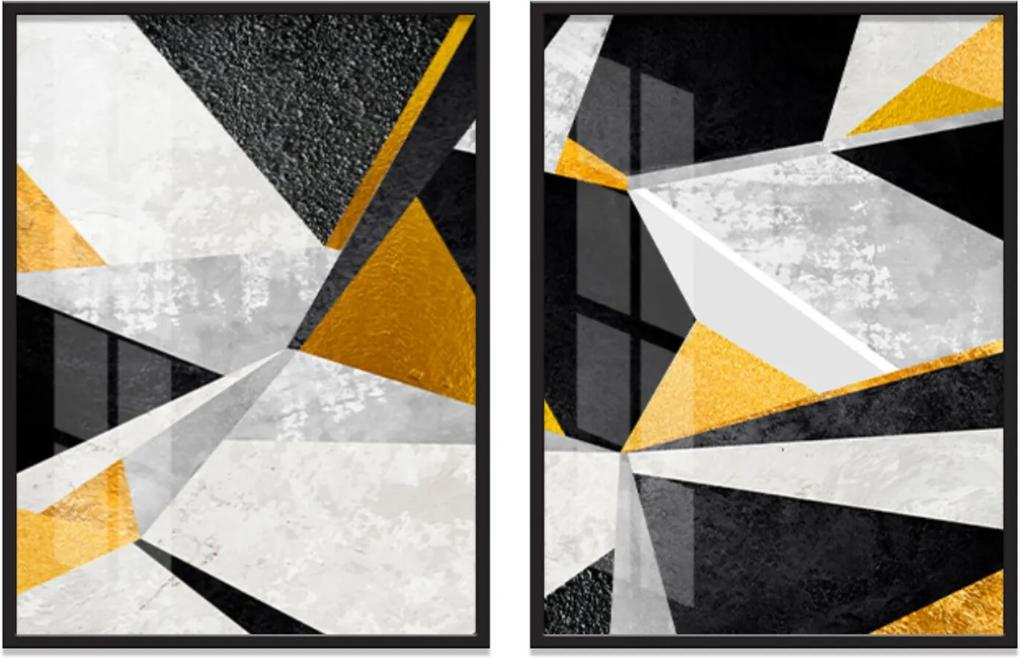 Quadro 65x90cm Abstrato Veckrat Geométrico Moldura Preta sem vidro Decorativo Interiores