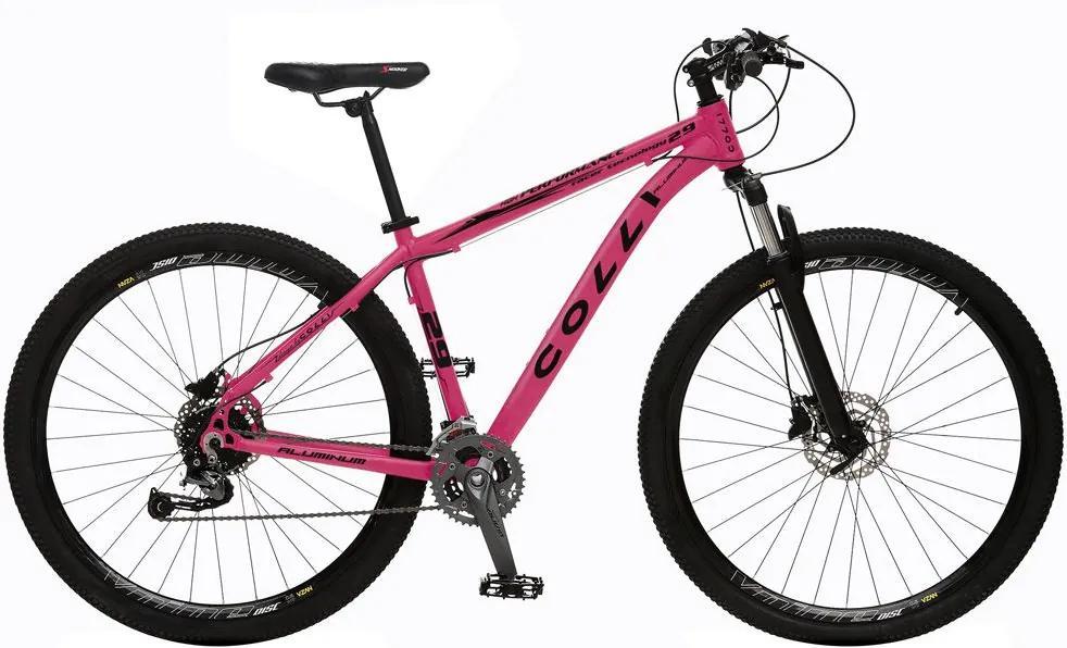 Bicicleta Esportiva Aro 29 Alívio Shimano Suspensão Freio a Disco 531-A Quadro 18 Alumínio Rosa - Colli Bike