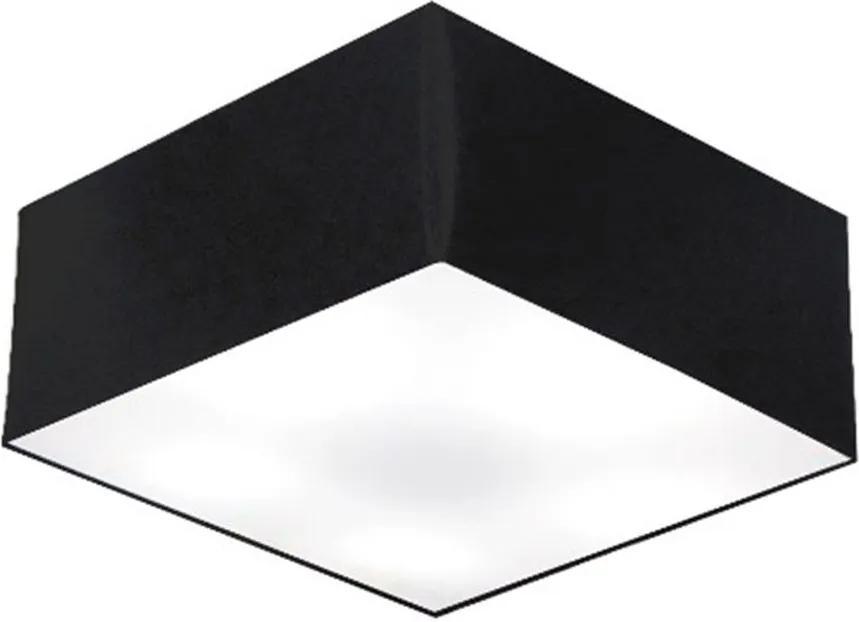Plafon Quadrado Md-3012 Cúpula em Tecido 21/50x50cm Preto - Bivolt