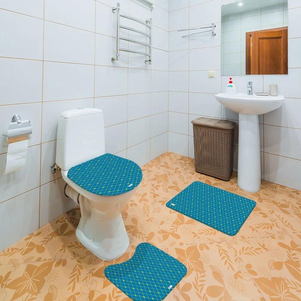 Jogo de Banheiro Abstrato AzulÚnico