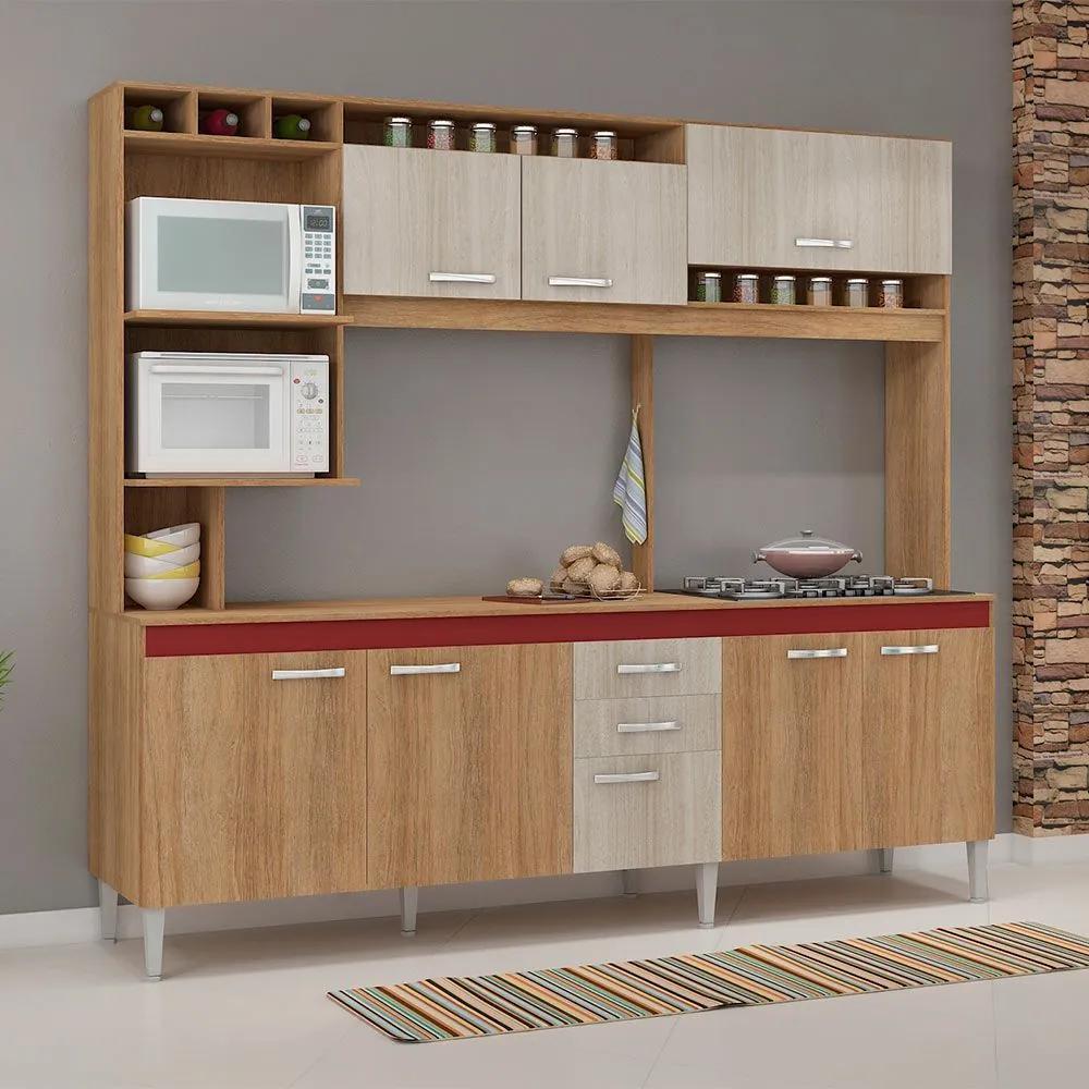 Cozinha Compacta Helen 8 Portas Com Tampo Carvalho/Blanche/Bordô - Fellicci