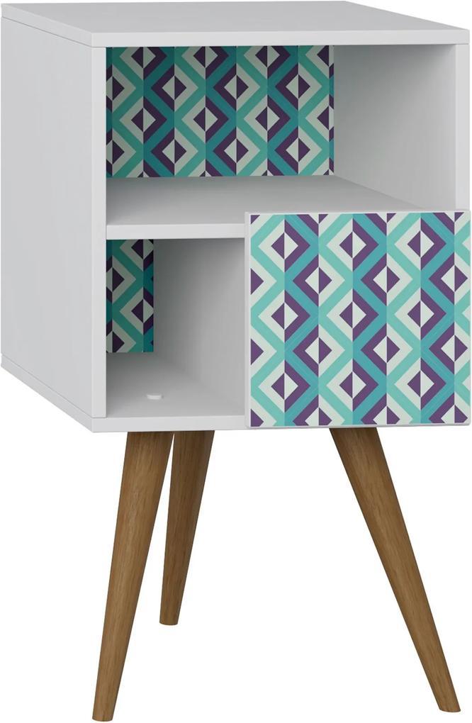 Mesa de Cabeceira C/ Porta Branco/Estampa Azul Be Mobiliário