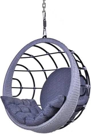 Poltrona de Balanco Bowl em Aluminio Revestido em Corda cor Azul com Suporte de Teto - 45324 Sun House