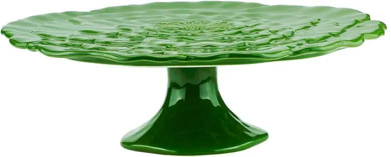 Prato Para Bolo Com Pé Porcelana Rosy Verde 30x9cm 27763 Wolff