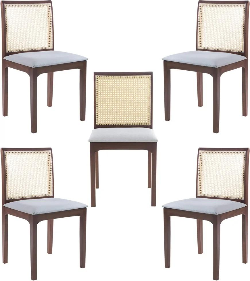 Kit 5 Cadeira Decorativa Sala de Jantar Steve Amêndoa - Gran Belo
