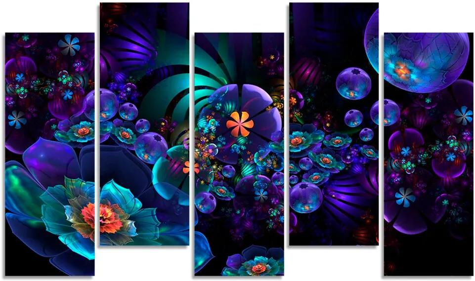 Quadro Decorativo Para Sala Quarto Flor Roxa Abstrato