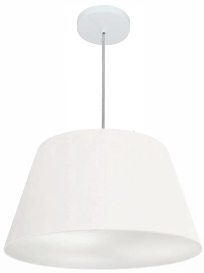 Lustre Pendente Cone Vivare Md-4248 Cúpula em Tecido 30/50x35cm - Bivolt - Branco - 110V/220V (Bivolt)