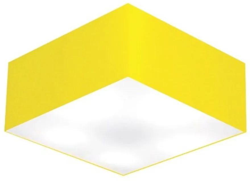 Plafon Quadrado Md-3012 Cúpula em Tecido 21/50x50cm Amarelo - Bivolt
