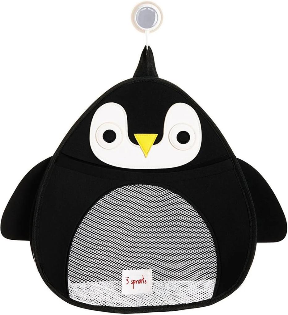 Organizador de Banho 3 Sprouts Pinguim Preto e Branco