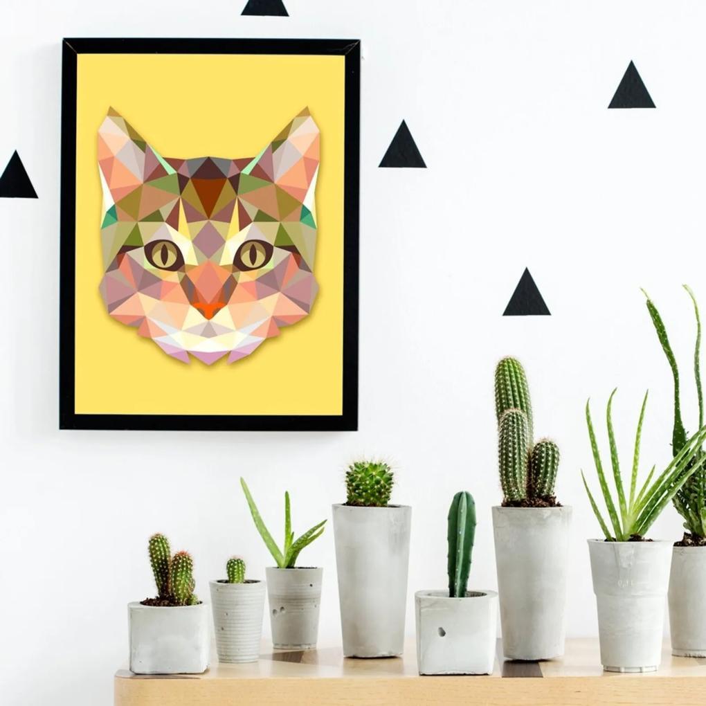 Quadro Decorativo com Moldura Abstrato Gato Preto