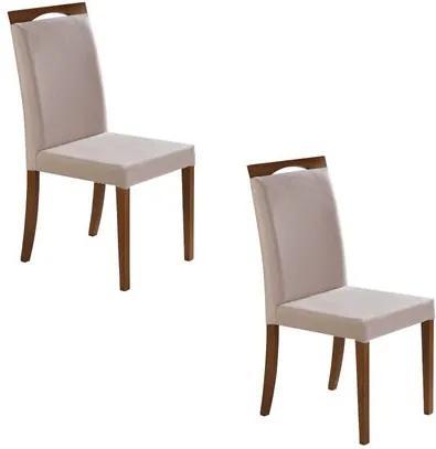 Kit 2 Cadeiras Fit em Madeira Eucalipto Detalhado - Bege/Castanho
