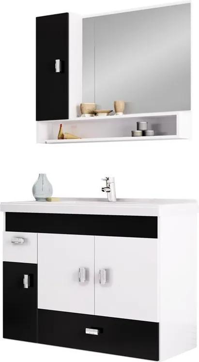 Conjunto Para Banheiro Madeira Orquídea 80 Cozimax Branco/preto
