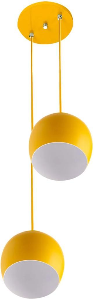 Lustre Pendente Aluminio Bola Duplo 15cm Amarelo