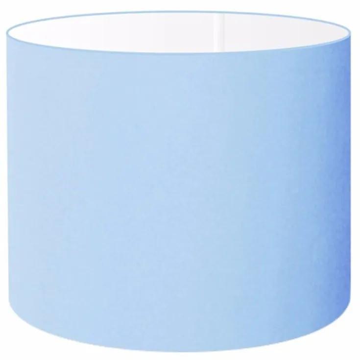 Cúpula Abajur e Luminaria em Tecido Cilíndrica Vivare Cp-8017 Ø40x21cm - Bocal Europeu - Azul Bebê
