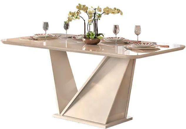 Mesa de Jantar DJ Móveis Ariel para 06 Cadeiras Tampo de Vidro 180cm Off White