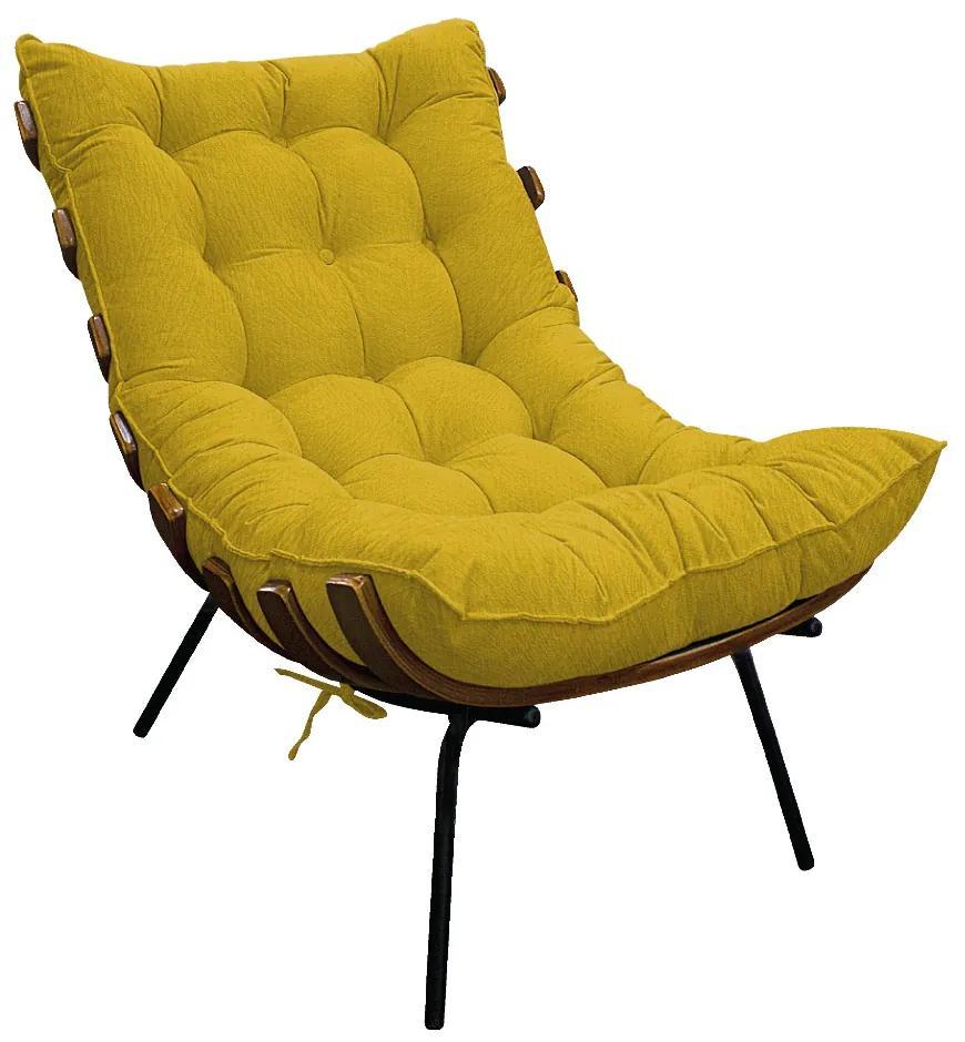 Poltrona Decorativa Costela Base Fixa Suede Amarelo - ADJ Decor
