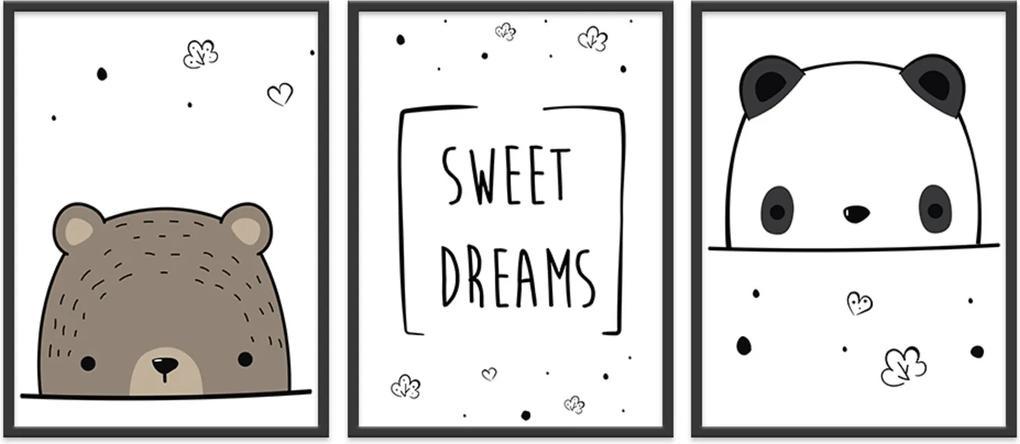 Quadro 40x90cm Infantil Sweet Dreams Moldura Preta com Vidro Decorativo