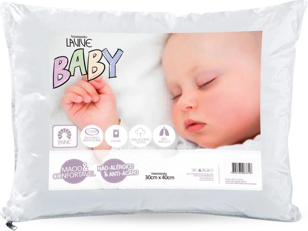 Travesseiro Baby 100% Algodão 140 Fios Antialérgico e Antiácaro Branco