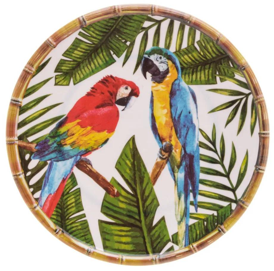 Prato Raso Melamina Pássaros Branco 27cm 28316 Bon Gourmet