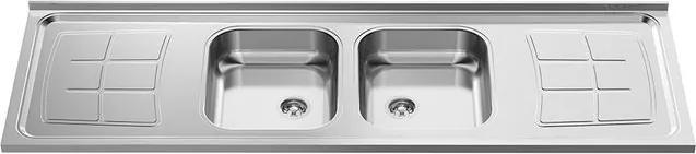 Pia para Cozinha Dupla em Aço Inox 430 Bali 200x53cm com 2 Cubas 35x40cm - GhelPlus - Ghel Plus