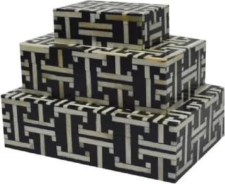 Conjunto de Caixas Estilo Osso Branco e Preto