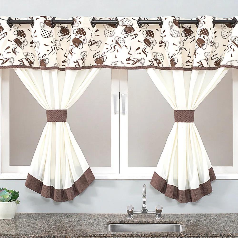 Cortina de Cozinha Home 2,00m x 1,40m para Varão Simples - Coffee