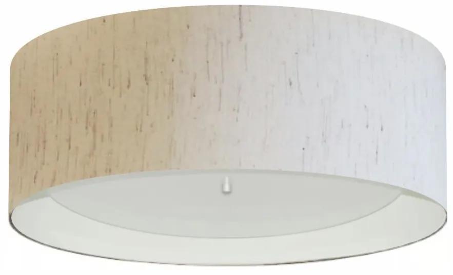 Plafon Cilíndrico Md-3008 Cúpula em Duplo Tecido 60x25cm Linho Bege / Branco - Bivolt