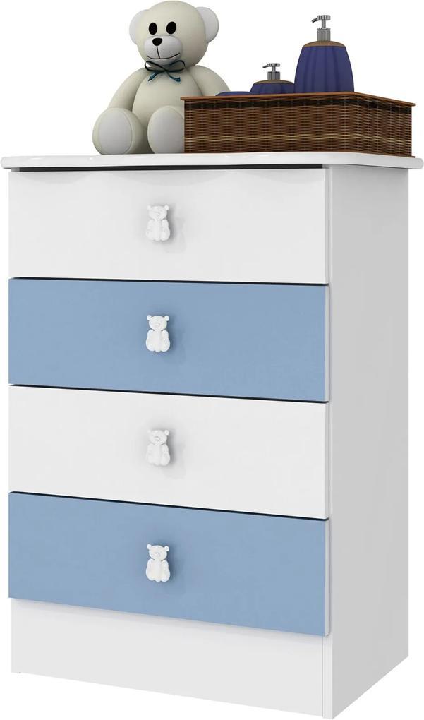 Cômoda 4 Gavetas Branco E Azul Percasa Móveis