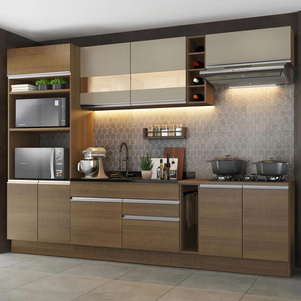 Cozinha Completa Madesa Vicenza com Armário e Balcão (Sem Tampo e Pia) Rustic/Crema Cor:Rustic/Crema