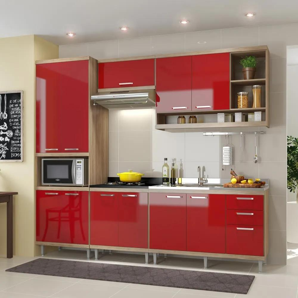 Cozinha Compacta 11 Portas C/ Balcão Sem Pia 5808 Vermelho/Argila - Multimóveis