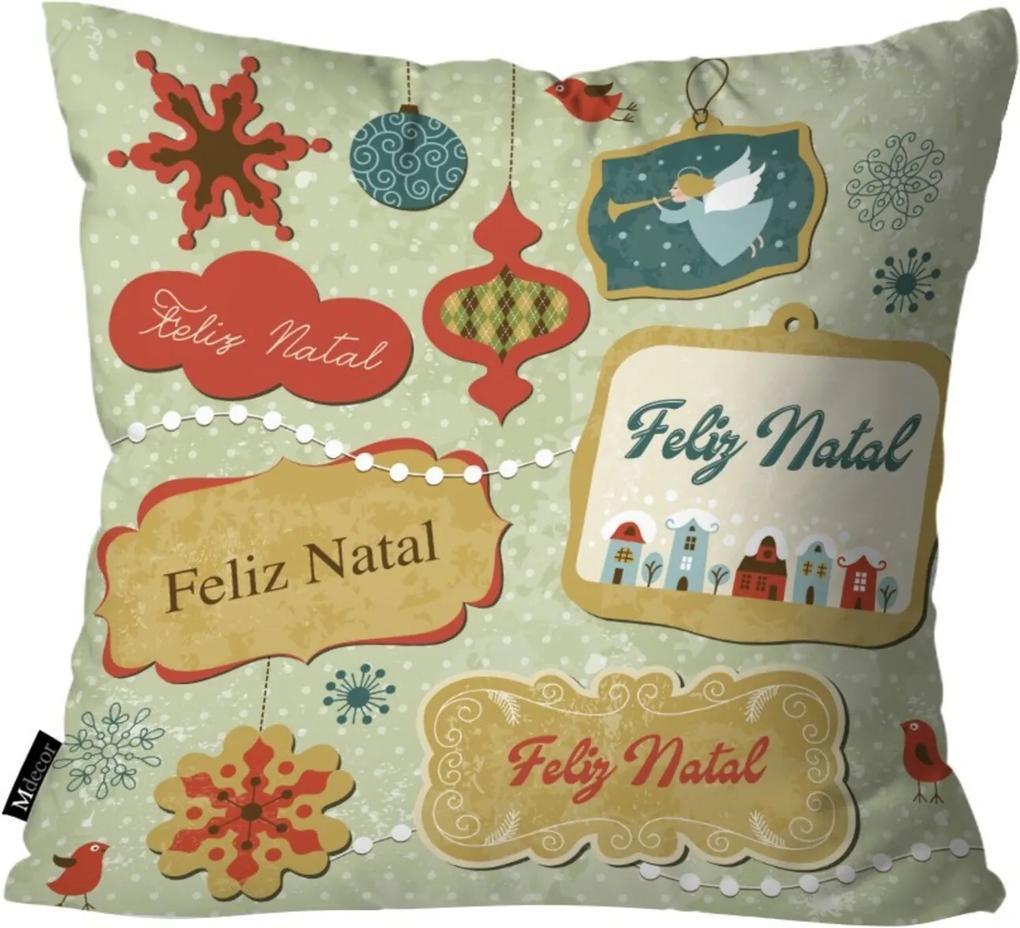 Capa para Almofada Mdecore Feliz Natal Verde 35x35
