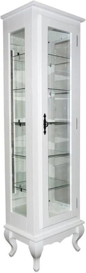 Cristaleira com Espelho + 5 Prateleiras De Vidro Branca - Wood Prime Biomóvel 962322