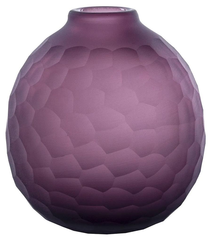 Vaso Em Vidro Texturizado M - Violeta