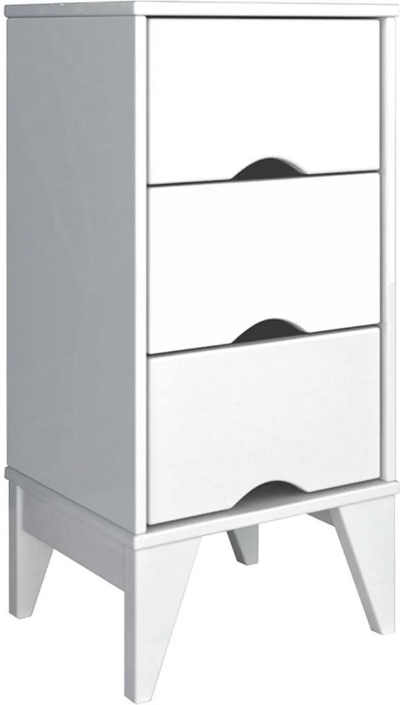 Mesa de Cabeceira 3 Gav. Twister Branco Tcil Móveis