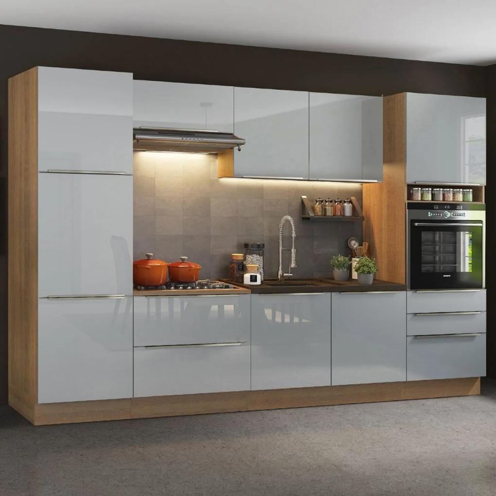 Cozinha Completa Madesa Lux com Armário e Balcão 9 Portas 5 Gavetas - Rustic/Cinza Cinza