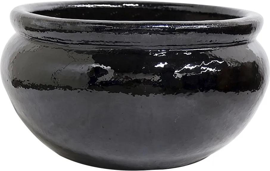 Bacia Vietnamita Cerâmica Importado Sanskrit Preto D72cm x A43cm