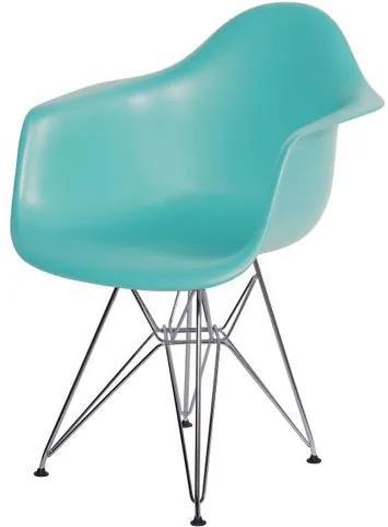 Cadeira Eames com Braco Base Cromada Tiffanny Fosco - 43636 Sun House