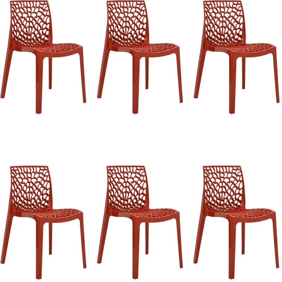 kit 6 Cadeiras Decorativas Sala e Cozinha Cruzzer (PP) Vermelha - Gran Belo