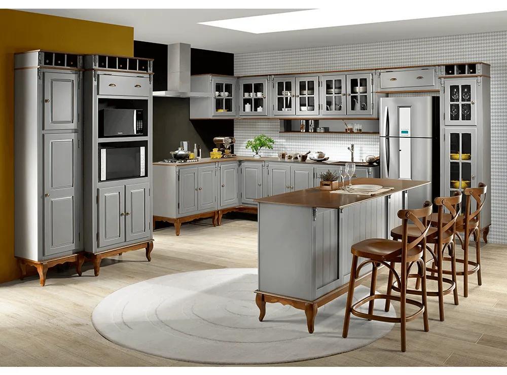 Cozinha Hannover Cinza Escura Completa Linz Móveis -