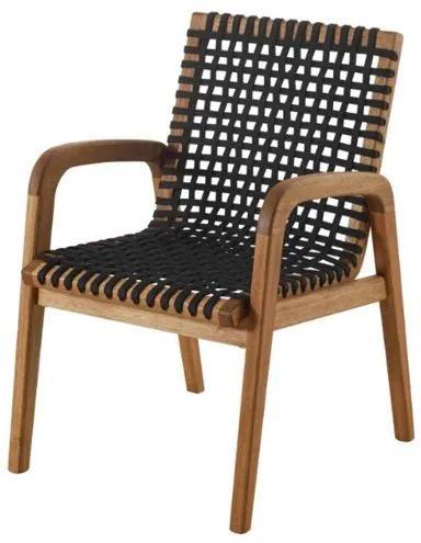 Cadeira Trama com Braco Preta Estrutura Madeira Stain Jatoba - 56633 Sun House