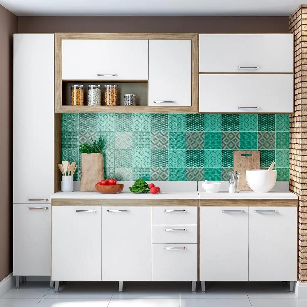 Cozinha Compacta 10 Portas Com Tampo Branco 5705 Branco/Argila - Multimóveis