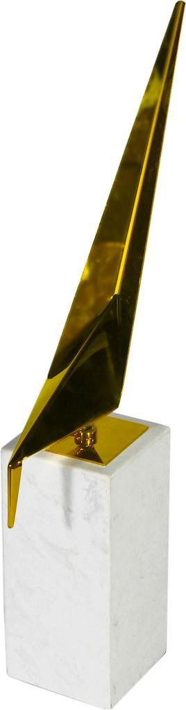 Escultura de Pássaro Produzido em Metal com Base em Mármore - 46x20x09cm