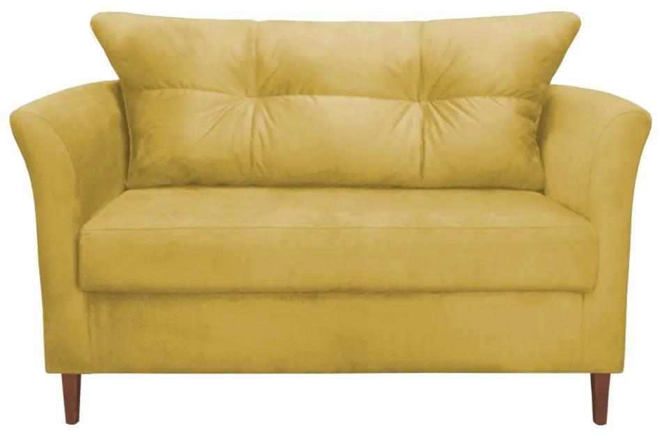 Namoradeira Ibis Decorativa 2 Lugares 1,35 m Recepção Quarto Sala Suede Amarelo