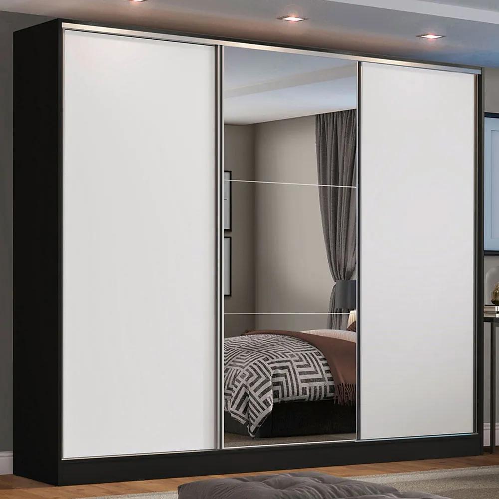 Guarda Roupa Casal 100% MDF Madesa Zurique 3 Portas de Correr com Espelho Preto/Branco Cor:Preto/Branco